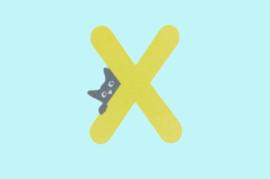 Houten letter X-decoratie kat-muur kinderkamer