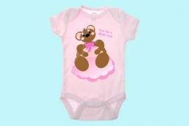 Beste Vriendjes felicitatie geboorte meisje beer op roze wolk