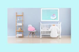 Poster babykamer jongen-blauwe wolk met tekst