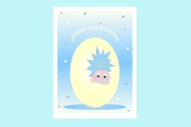 Poster babykamer geboorte baby jongen-Kiekeboe