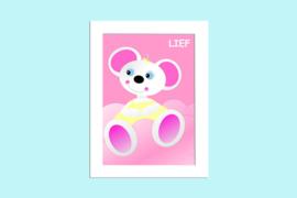 Beste Vriendjes poster babykamer Muisje Lief op roze wolk