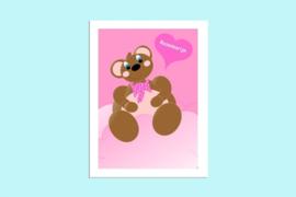 Beste Vriendjes poster babykamer meisje Beer met hart en naam baby