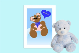 Beste Vriendjes poster babykamer jongen Beer met hart en naam baby