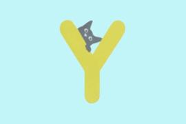 Houten letter Y-decoratie kat-muur kinderkamer