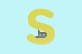 Houten letter S-decoratie kat-muur kinderkamer