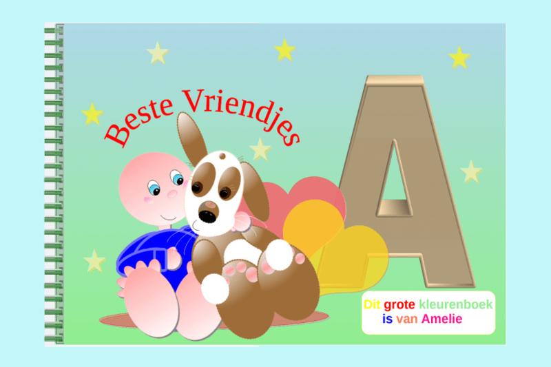 Kleurboek peuter - gepersonaliseerd - A - Beste Vriendjes