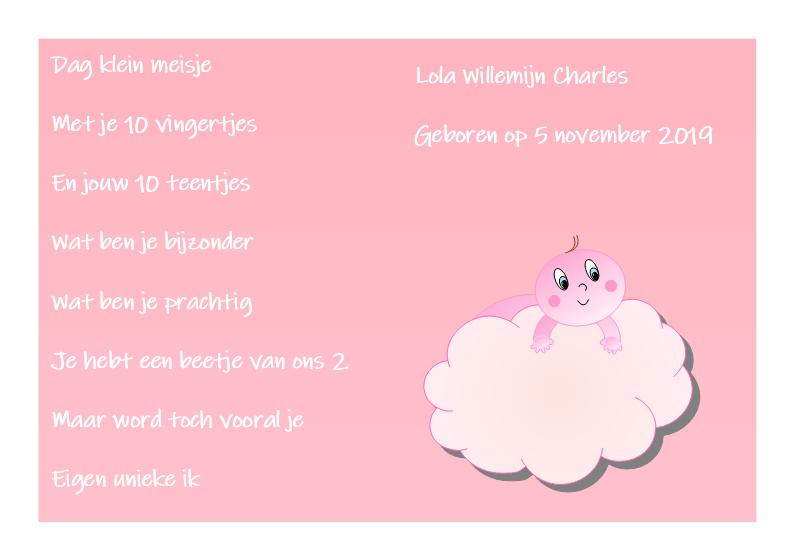 Poster babykamer meisje-roze wolk met tekst