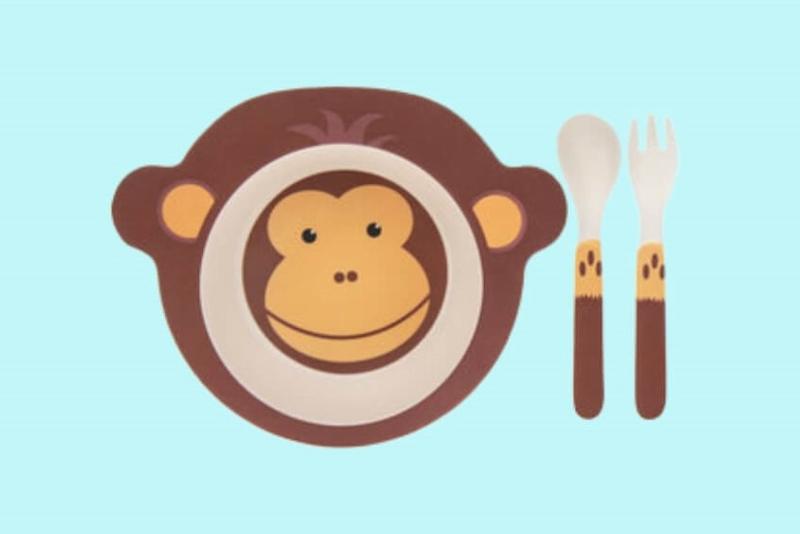 Kinderservies-bamboe-aap-kom, lepel en vork