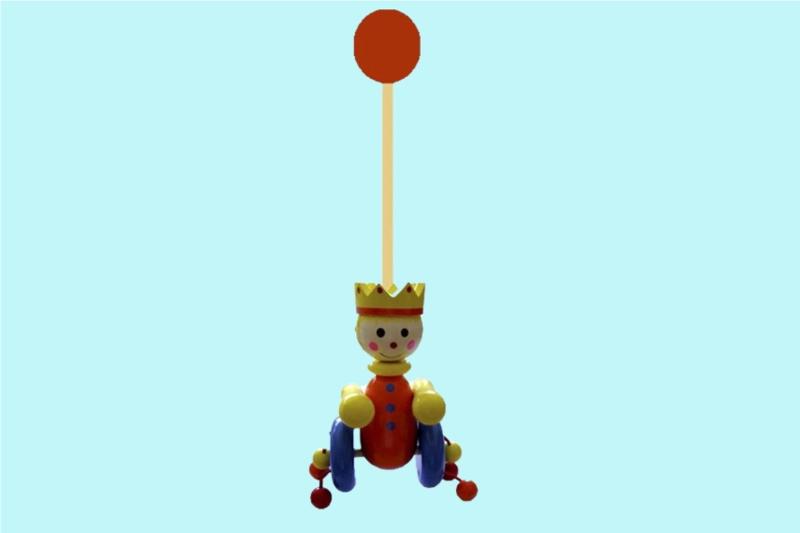 Houten Stokroller Koning