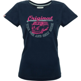 Original Ride VW Bulli Women Shirt Navy Pink/Grey