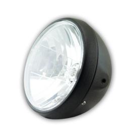 7 Inch Koplamp  Reno / Britisch style MATT Black |  H4 Helder glas | E-keur