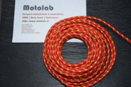 Bougiekabel Rood/Geel  braided cloth