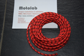 Bougiekabel Rood/Zwart  braided cloth