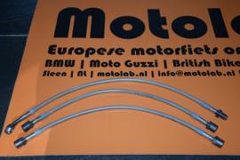 """RVS remleiding set """"MET kuip"""" BMW R2V  RT Modellen VANAF 9/1980 met dubbele remschijf   3 Delig"""