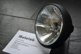 7 Inch koplamp MAT Zwart Zij bevest | Britisch style | H4 | E-keur