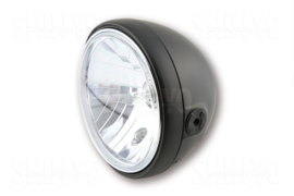 7 Inch koplamp HELDER glas MAT Zwart Zij bevest |RENO style | H4 | E-keur