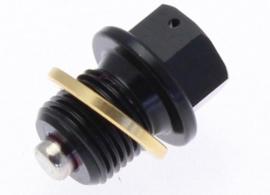 Olie Aftaplug M16X1.5 ALUZwart/ voorgeperforeerd MET magneet