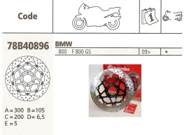 Remschijf BMW F650 | F700 | F800 GS FRONT Brembo  78B40896