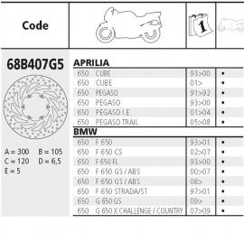 Remschijf BMW F650 | Aprillia FRONT Brembo  68B407G5