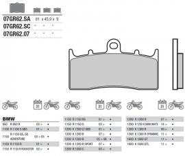 Remblokken BMW R850 R1150 R/GS  K1600 FRONT Brembo 07GR62SA