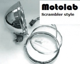 5 3/4  Inch koplamp H4 Chroom o.a. Scrambler | Caféracer | Bratstyle