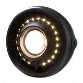 7 Inch Koplamp Angel eye  | Black | H4 / LED | E-keur