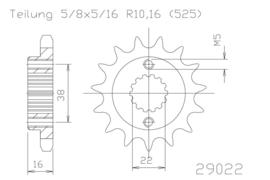 14-tands voor tandwiel 5/8x5/16 Ducati o.a. S4R