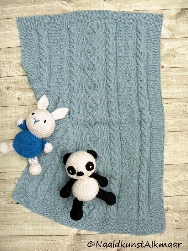 Babydeken Cool Wool met kabeltjes