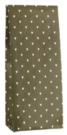Ib Laursen blokbodemzak | Olijfgroen met witte hartjes |  22,5 cm | per stuk