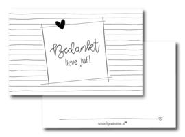 winkeltjevananne mini kaartje  | Bedankt lieve juf! | 9 x 5,5 cm