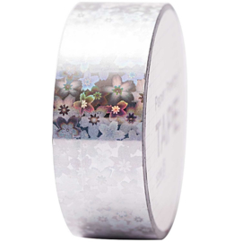 Masking tape | Holographic tape | Bloemen | 10 mtr x 1,9 cm