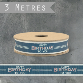 Rolletje lint | Happy Birthday To You | Blue | 3 meter