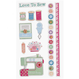 Paper Poetry 3D sticker - Love To Sew