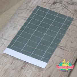 Kadozakje | Grid motief | grijs/groen | 12 x 19 cm | per stuk