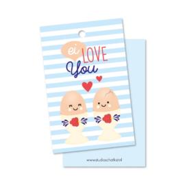 Kadolabel | Ei love You | 8,5 cm x 5,5 cm | per stuk