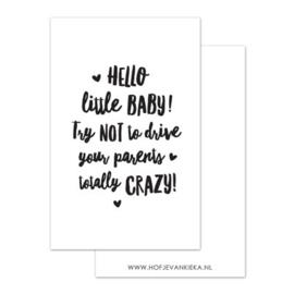 Hof je van Kieka mini kaartje  | Hello little baby!  | 8,5 x 5,5 cm