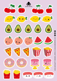 Stickervel A5 32 stickers | Sushi - Fruit - Fast food