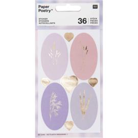 Paper Poetry stickerset | Pastel siertakken - Hartjes goud | 4 velletjes