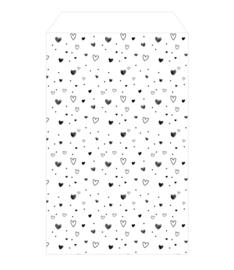 winkeltjevannne kadozakje | Hartjes zwart/wit | 12 x 19 cm | per stuk