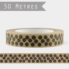 East of India tape | Black Dots | 50 meter x 2,5 cm