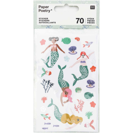 Paper Poetry stickerset | Mermaid - Zeemeermin | 4 velletjes in totaal 70 stickers