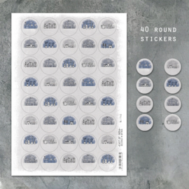 East of India Stickervel A4 | Little hand draw scenes | 3 cm | 40 stickers