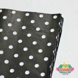 Tissuepapier | Zwart met witte stippen | 50 x 35 cm | 5 stuks