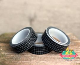 Masking tape | zwart ruitje | 10 mtr x 1,5 cm