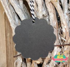 Kraft label | rondje met schulprandje | zwart  | 6 cm | per 5 stuks