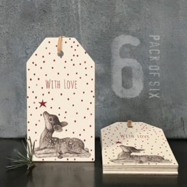 Kado Labels | With Love | Bambi | 11 cm | Set van 6
