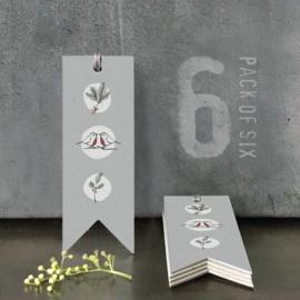 Labels | Grey Robins | 12 cm | Set van 6 stuks