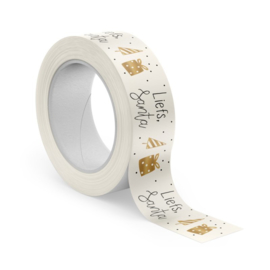 winkeltjevananne kerst tape | Masking tape | Liefs Santa gold | Met shiny goudfolie | 10 meter