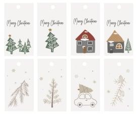 Ib Laursen labeltjes | Kerst | Christmas | set van 8 verschillende | 6 x 3 cm