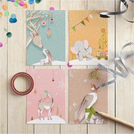 Studio Draak mini kaartjes | Very merry Christmas | Set van 4 stuks